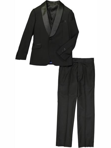 Product# MO482 3 Pc Satin Collar Shawl Lapel Black Tuxedo Suit