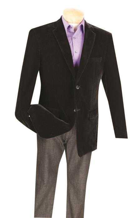 Product# SM5195 Black Big And Tall Blazers Clearance Cheap Velvet ~ Velour Blazer / Sport Coat
