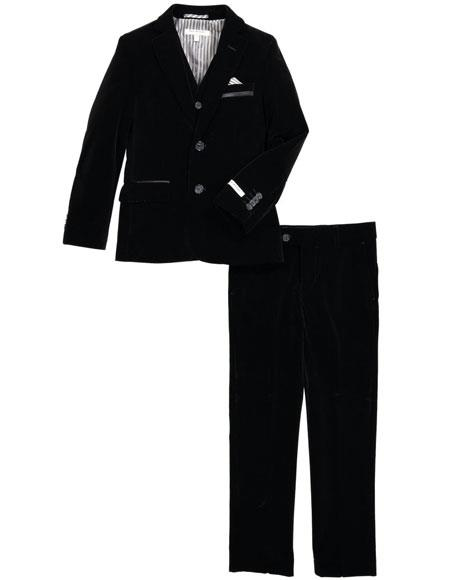 Product# CH2192 Mens Black Velvet Fabric Suit Jacket & Pants (no vest included)
