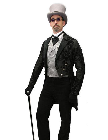 Product# CH1912 Men's Black velvet trimmed regency tapestry modern fit Tailcoat
