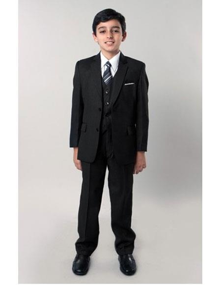 Product# JSM-5749 Boy's 5 Piece Single Breasted Black Suit with Tone on Tone Pinstripe Side Vents