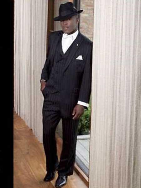 Product# JSM-713 Men's Single Breasted Black 3 Piece Peak Lapel Tone on Tone Shadow Stripe Tonal Stripes Vested Suit