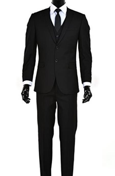 Product# JSM-4996 Men's 2 Button Single Breasted Black Notch Lapel Slim Fit Vested Suit