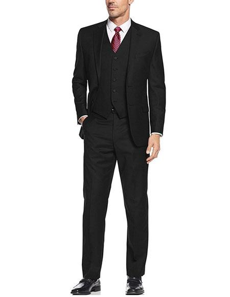 Product# AP668 Caravelli Men's Black 3-Piece Single Breasted Slim Fit 2-Button Vested Dress Suit Set (Buy Wholesale 10PC&UP of this for $90)