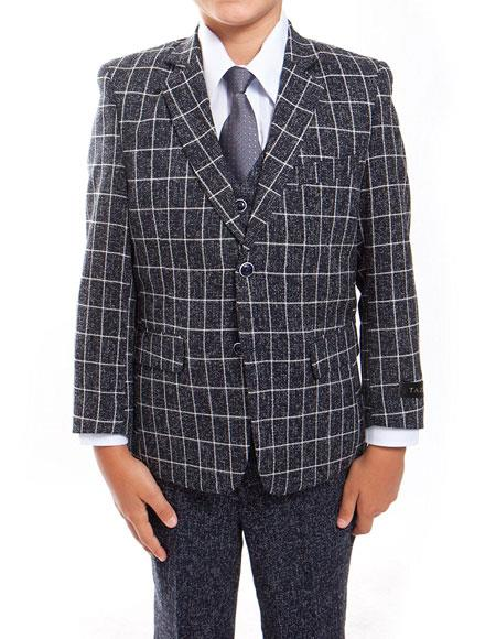 Product# GD1523 Boys ~ Kids ~ Children Toddler Plaid ~ Windowpane Pattern Black/White Vested Suit 3 Peice Matching Shirt & Tie