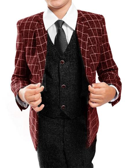 Product# GD1520 Boys ~ Kids ~ Children Toddler Black/Red Plaid ~ Windowpane Pattern  Vested Suit 3 Peice Matching Shirt & Tie