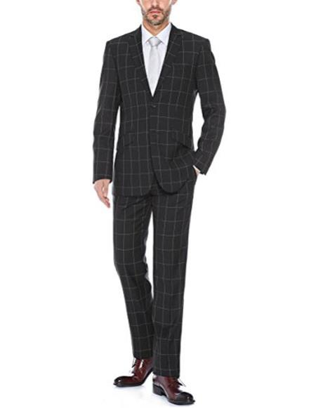 Mens black windowpane plaid