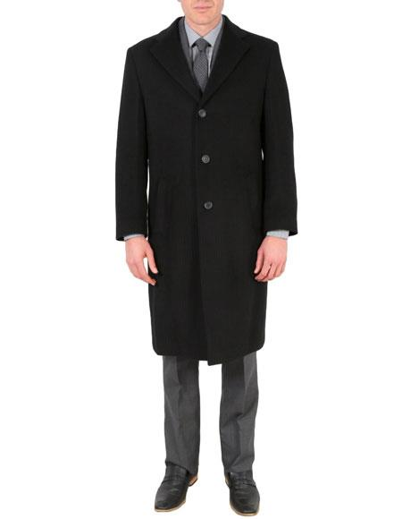 Mens Black Wool Tone