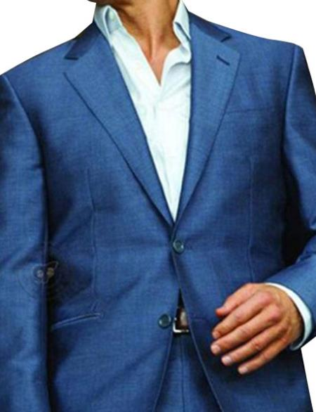 Product# GD1599 Men's 1 Button Single Breasted Blue Notch Lapel Slim Fit Suit