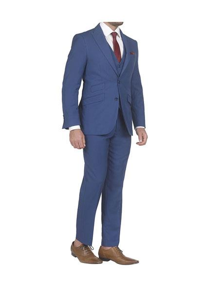 men's Single Breasted slim fit 3 piece vested suits with Ticket Pockets
