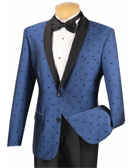 Product# JSM-6670 Mens Blue 2 Button Single Breasted Slim Fit Polka Dot Shawl Lapel Tuxedo Suit