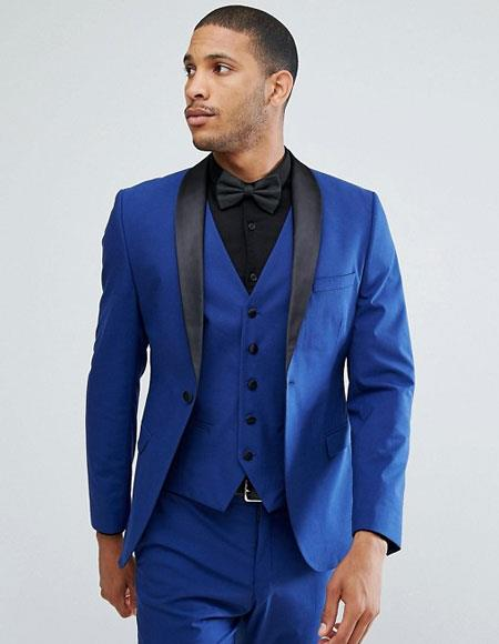 Product# JSM-6672 Mens Blue 1 Button Shawl Lapel Single Breasted Slim Fit Vested Suit