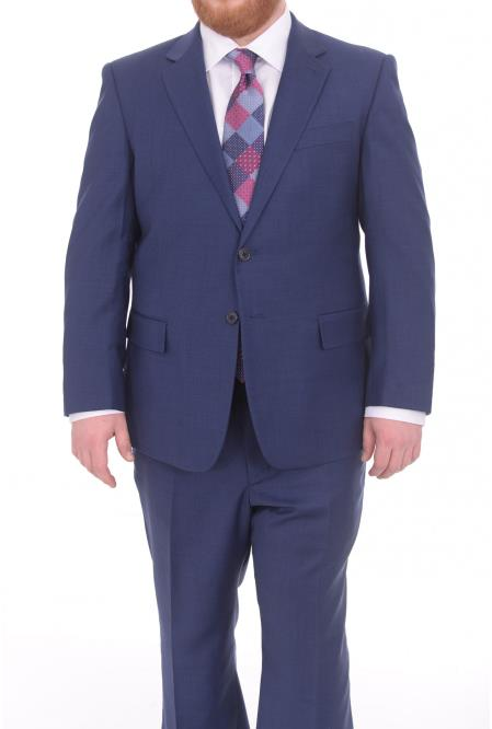 SM4909 Mens Fully Lined Blue Textured Portly Fit
