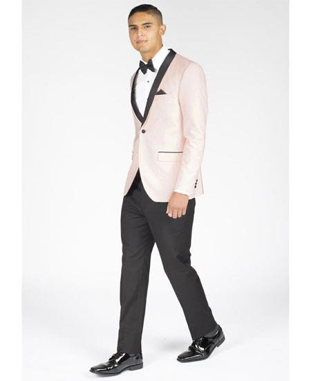 Product# GD1780 Men's Single Breasted Slim Fit Shawl Lapel Blush Pink Tuxedo Clearance Sale Online