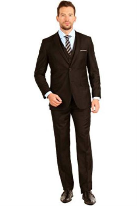 Product# SM1306 brown color shade Slim narrow Style Fit 3 Piece Notch Collar Single Breasted Double Vent Vested Suit