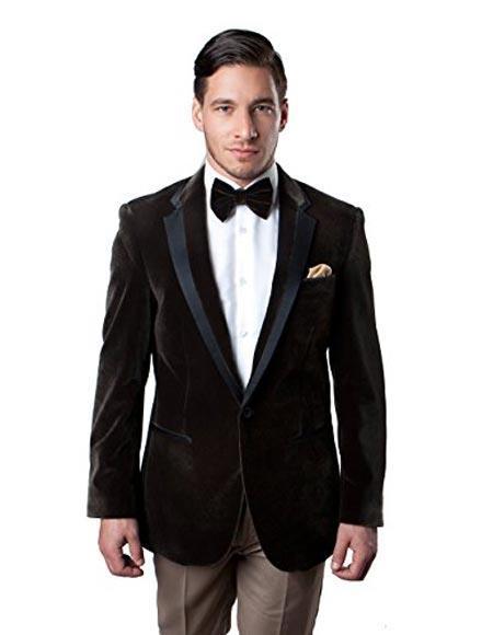 men's Brown Velvet Blazer Tuxedo Looking Sport Coat