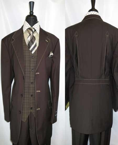Mens 3 Button Brown