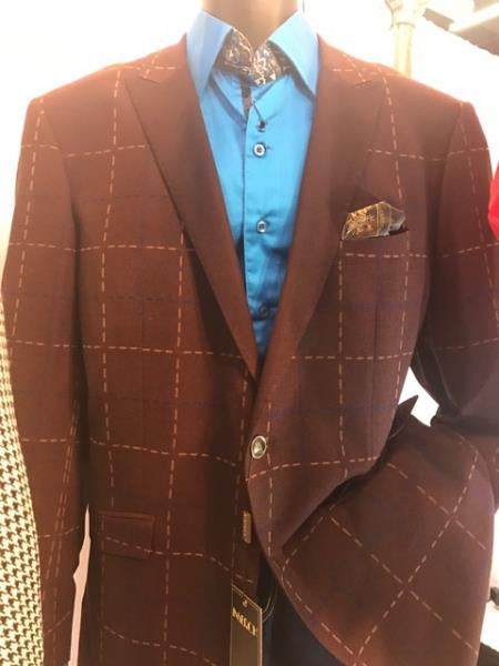 Mens Windowpane Brown Blazer