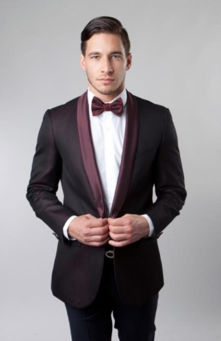Product# JSM-5475 Mens Shawl Collar Single Button Burgundy Dinner Jacket / Blazer Sport coat