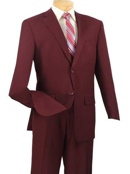 Mens Burgundy Single Breasted