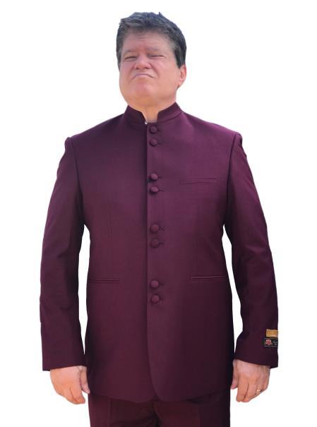 Product# SM4444 Alberto Nardoni Best Mens Italian Suits Brands Mandarin Banded No Collar Suit Burgundy~Maroon Color