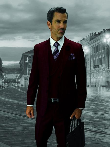 BURGUNDY Statement Plaid Suit