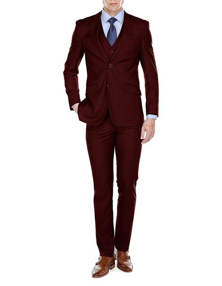Product# JSM-6787 Men's Burgundy Slim Fit 3 Piece Single Breasted 2 Button Notch Lapel Suits