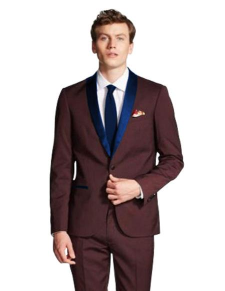 Product# CH2230 mens Single Breasted Navy Blue Shawl Lapel Burgundy tuxedo jacket