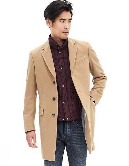 Mens 3 Button Camel