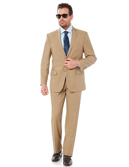 2 Button 2 Piece Fully Lined Camel Suit