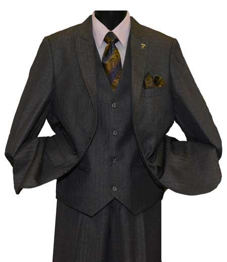 Single Breasted Charcoal Color Suit