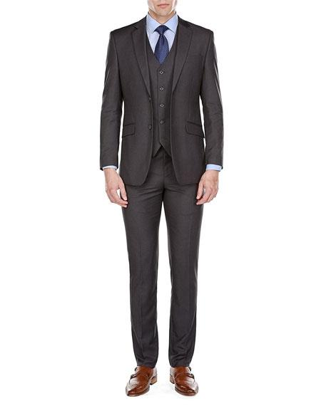 Two Button Charcoal Gray Color Wool Suit