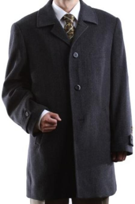 Product# EWS34 Single Breasted Dark Grey ~ Gray Topcoat Masculine color Luxury Wool Fabric Cashmere Three-quarter Length Topcoats ~ overcoats outerwear