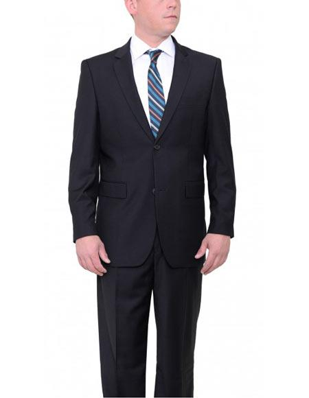 Product# JSM-2970 Men's 2 Button Black Single Breasted VITALI Classic Fit Suit With Pleated Pants