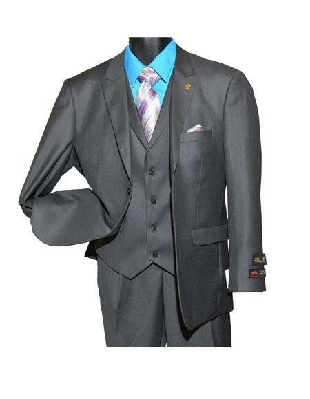 Single Breasted Charcoal Vested Suit