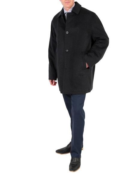 Mens Charcoal Wool Overcoat