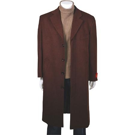 Product# MUC19 Stylish CoCo Dark Brown Color Shade Classic single breasted overcoats outerwear in Wool Fabric & Cashmere