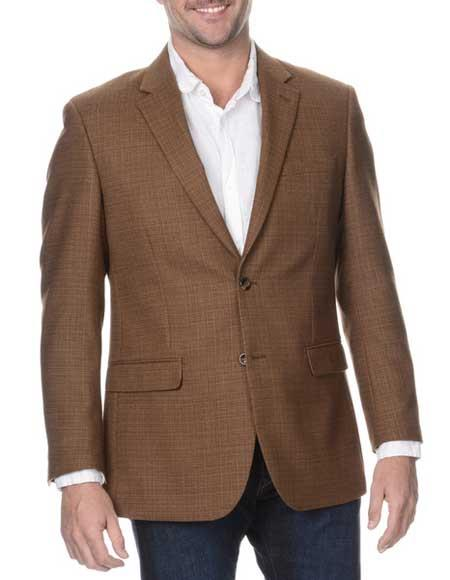 Men's Coffee Single Breasted Notch Lapel Rich Wool Blazer
