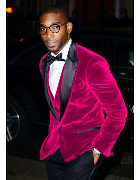 men's Fuchsia Velvet Tuxedo Blazer ~ Sport coat
