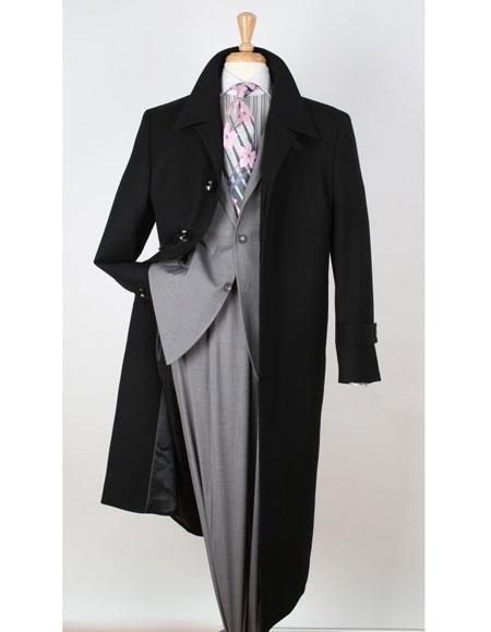 Apollo King men's Big & Tall Wool Gabardine Black Top Coat - Duster Coat Style