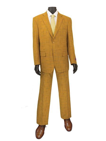 Product# JS340 Mens Plaid ~ Window Suit 2 Button Suit Ginger