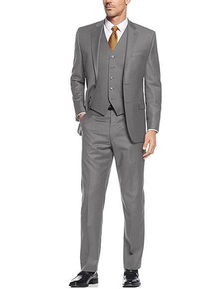 Product# AP669 Caravelli Men's Gray 3-Piece Single Breasted Slim Fit 2-Button Vested Dress Suit Set (Buy Wholesale 10PC&UP of this for $90)