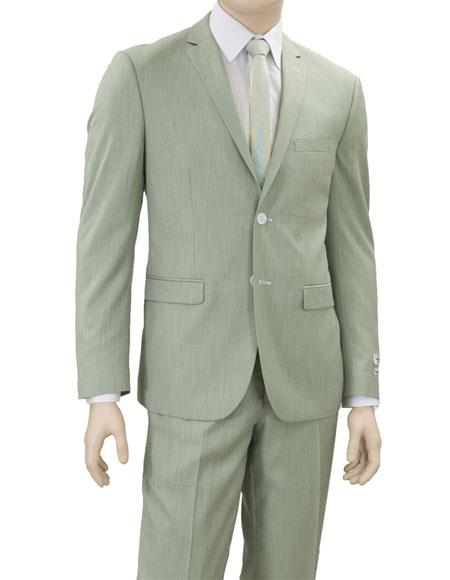 Product# GD1670 Men's Lorenzo Bruno Single Breasted 2 Button Green Notch Lapel Suit for Men