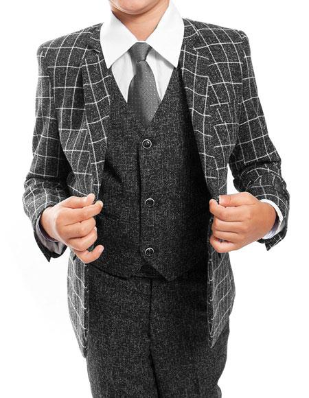 Boys ~ Kids ~ Children Toddler Plaid ~ Windowpane Pattern Vested Grey/Black Suit 3 Peice Matching Shirt & Tie