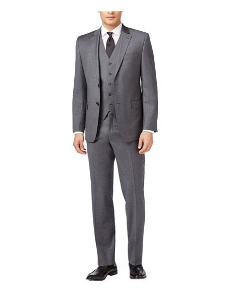 Product# AP673 Caravelli Men's 3-Piece Medium Grey Single Breasted Slim Fit 2-Button Vested Dress Suit Set (Buy Wholesale 10PC&UP of this for $90)