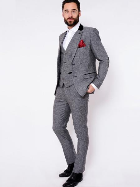 Product# MO468 VICTOR - Grey Herringbone Tweed Three Piece Suit