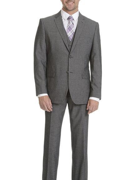 Product# GD1371 Caravelli Men's Grey 2 Button Vested Slim Fit Notch Lapel Suit