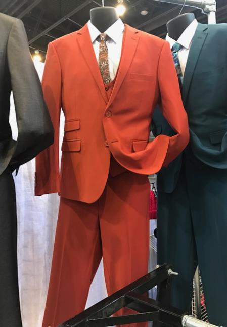 Product# JSM-6921 Mens Vittorio St Angelo Hot Red 2 Button Suit
