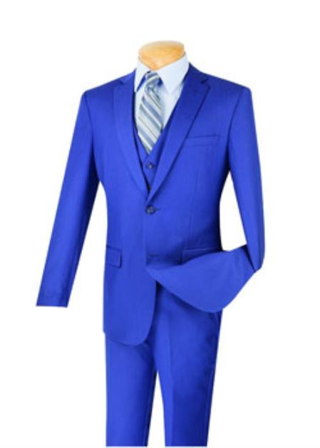 Men's 3 Piece 100% Wool Executive Indigo Suit - Narrow Leg Pants