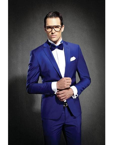 Product# JSM-6029 Mens Royal ~ Indigo ~ Cobalt New Blue Slim Fit Notch Lapel Suit